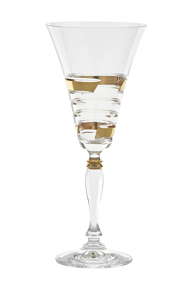 Alachia Red Wine Gles 24k Gold Set Of 6 Glazze Crystal Glware